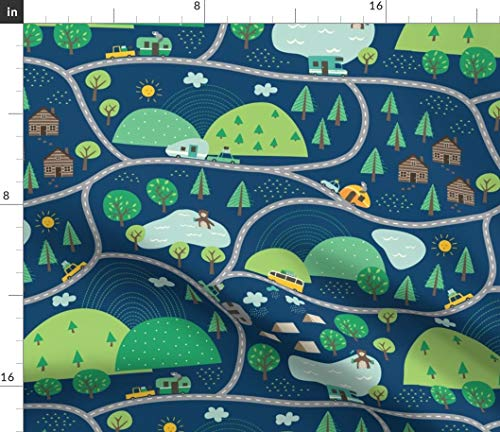 - Camping Road Trip Fabric - Summer Camping Nursery Decor Bear Raccoon Camper Car Mountain Cabin Woodland Print on Fabric by The Yard - Cotton Poplin for Sewing Shirting Quilting Dresses Apparel Crafts