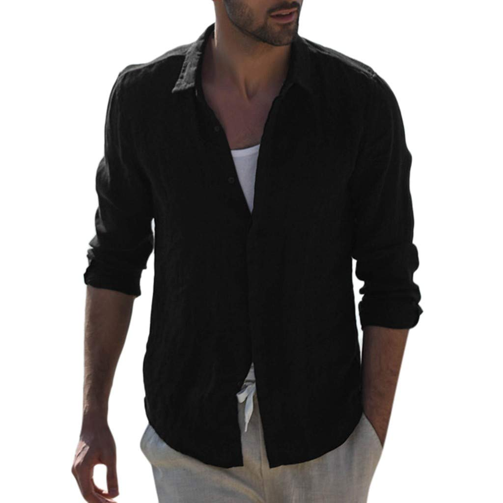 Men Shirts Retro Long Sleeve Basic Baggy Button Down Beach Tee Tops