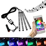 Car LED Strip Lights, Uniwit 4pcs 48 LED Bluetooth App Controller Strip Lights For Car Multicolor Music Interior Light Under Dash Lighting Kit with Sound Active Function for iPhone Android Smart Phone