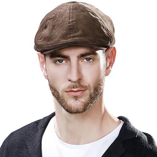 Siggi Mens newsboy Cap Winter Hat Hunting Irish IVY Flat Cap Cotton Warm Gatsby Hat For Guys Elastic
