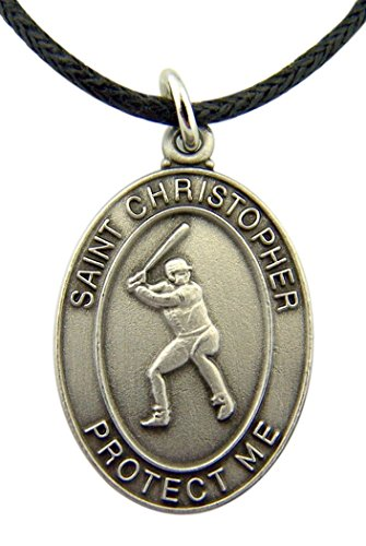 Christopher Baseball - Pewter Saint Christopher Baseball Medal on Cord Chain Necklace, 1 Inch
