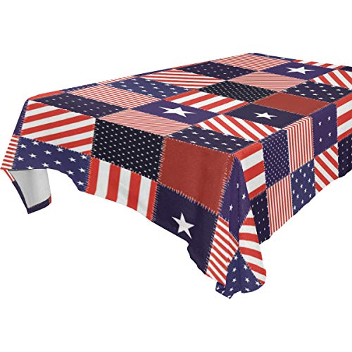 Wamika American Memorial Independence Day Firework Square Tablecoloth, Spring 4Th Of July Patriotic Rectangle Round Table Linen Cloth Cover 60