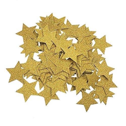 Souarts Papier Confettis Forme d'étoiles Paillettes Décorations pour Mariage Anniversaire Fête Noël Couleur Or 100PCS