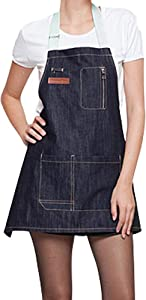 Adjustable Denim Apron with Pockets, Work Tool Aprons for Men Women Restaurant BBQ Grill Coffee Shop