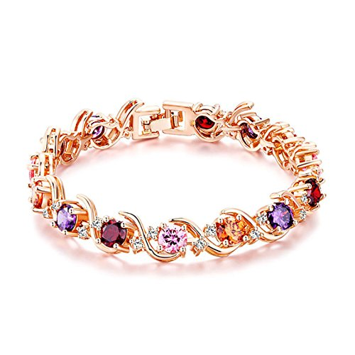 Foruinvent Luxury Rose Gold Plated Crystal Wedding Bridal Bracelet Valentine's Day Lovers Gift by Fouinvent