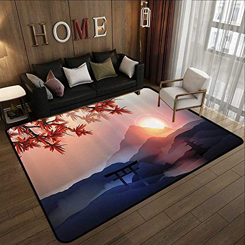- All Weather mats,Asian Decor,Majestic Himalayas Peaks Tops with Silhouette of Sun Life Circle Symbol Culture Artwork,Blue Pink Red 35