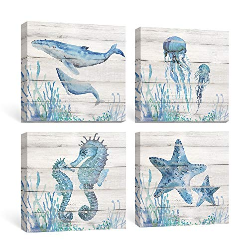 SUMGAR Ocean Wall Art Bathroom Rustic Decor Beach Coastal Canvas Paintings Farmhouse Navy Blue Pictures Seahorse Starfish Nautical Artwork Set of 4 Marine Life Theme Bedroom Decorations 12x12 inch (Starfish Photo)
