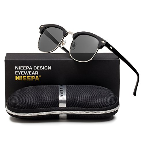 NIEEPA Semi Rimless Polarized Sunglasses Classic Brand Sun Glasses With Metal Retro Rivets (Grey Lens/Bright Black Frame/Silver - Club Sunglasses Le
