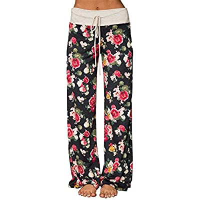X-Image Women's Comfy Stretch Floral Print Drawstring Long Wide Leg Lounge Pants at Women's Clothing store