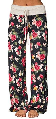 Comfy Chic Floral Drawstring Long Wide Leg Pants,Black,X-Large ()