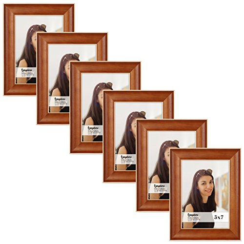 Langdons 5x7 Picture Frame Set (6-Pack, Honey Brown) Solid Wood Photo Picture Frames 5x7, Wall Hanging or Table Top, Display Picture Frame 5x7 Vertically or 7 x 5 Horizontally, Richland Series -