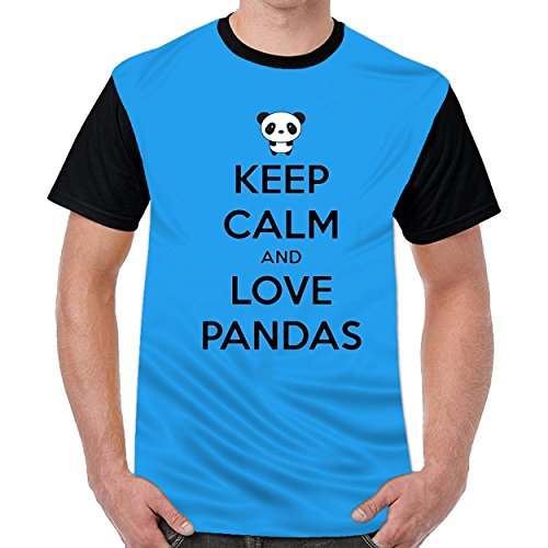 Speciallife Keep Clam and Love Pandas Men Printed Round Neck t Shirts Graphic T-Shirt Royal Blue