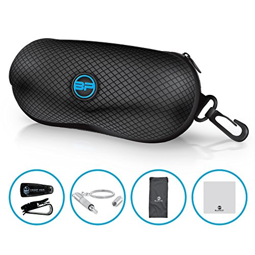 BLUPOND Semi Hard EVA Glasses Case with Hanging Hook 5 IN 1 Set for Sports - With Clip Sunglass Glasses