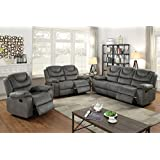 3Pcs Slate Grey Leather Motion Sofa Loveseat Chair Recliner Set for Living Room
