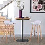 Bar Stool, GentleShower Set of 2 ABS Kitchen Breakfast Barstools Modern Counter Height Bistro Pub Bar Chairs with Wooden Legs, White