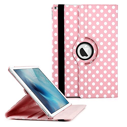 360 Degree Rotating PU Leather Case with Sleeping Function Smart Stand Swivel Cover for iPad Pro - Pink Polka Dot (2 Keyboard Ipad Shark Air)