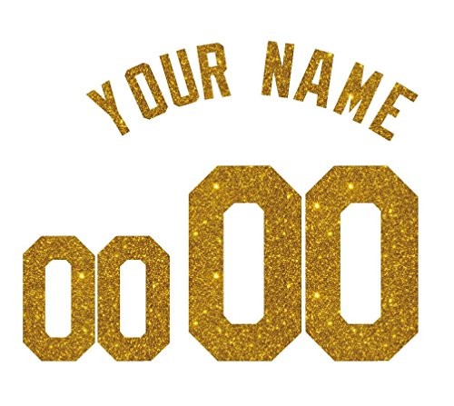 Baseball Jersey Numbers - Custom Glitter, Glow in Dark, Metallic, Reflective, Hologram Vinyl Iron-on Transfer Shirt Name and Number Kits for Custom Soccer, Basketball and Baseball Jerseys,Shirts,Clothing (Gold Glitter)