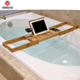 Cheap WELLAND Bathtub Caddy Tray with Extending Sides, Bamboo Reading Rack, Wine Glass, Books, Cellphone and Tablet Holder