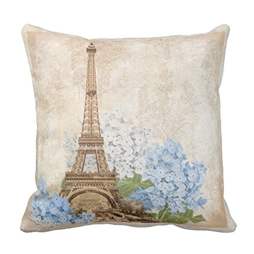 UOOPOO Paris Vintage Blue Hydrangea Throw Pillow Case Square 18 x 18 Inches Soft Cotton Canvas Home Decorative Wedding Cushion Cover for Sofa and Bed Print On One (Paris Hydrangea)