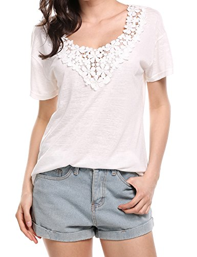 Soteer Women's V Neck Lightweight Soft Short Sleeve Lace T-Shirt White XXL Lights And Lace Tee