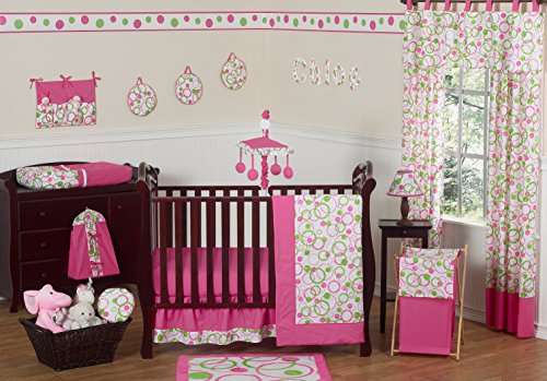 Modern Pink and Lime Green Circles Baby Girl Bedding 11pc Crib Set without bumper