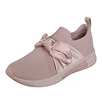 8f90743feb47 Skechers Modern Jogger Debbie Pink Slip On Bow Trainers  Amazon.co.uk  Shoes    Bags