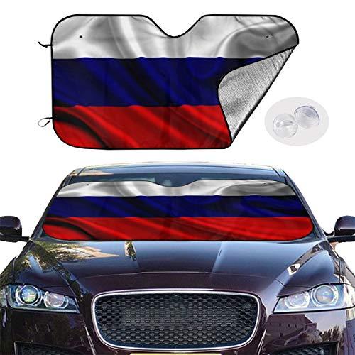 Windshield Sun Shade Russia Satin Flag Car Sunshades Universal for Cars Truck Van SUV Foldable Car Windshield Sun Shade UV Sun Heat Reflector Keeps Vehicle Cool Size S/M