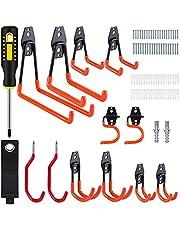 Vastar Fietswandhouder, 12 stuks haken om op te hangen, geschikt voor touwen, losse artikelen, elektrisch gereedschap en andere gereedschappen, oranje