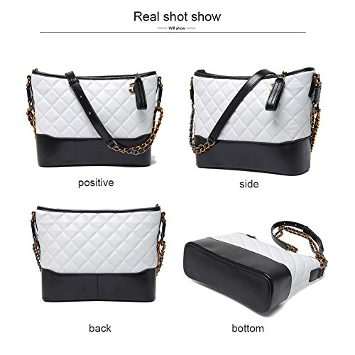 White Color Bags Genuine Women Blocking Crossbody Bags Shoulder Leather large Hobo Rita Fashion Normia Bags Chain for PqZS11
