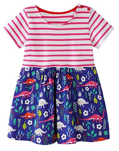 GSVIBK Kid Girl Cotton Dress Toddler Short Sleeve Dress Cartoon Cute Dress Crew-Neck Summer Dresses Dinosaur-2 18M 663 from GSVIBK