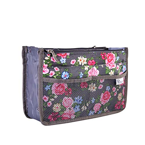 - Periea Handbag Organizer - Chelsy - 28 Colors Available - Small, Medium or Large (Medium, Floral Grey)