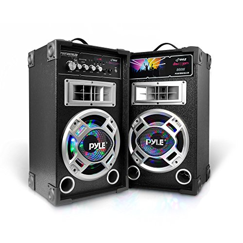 Portable PA Tower Speaker System - 800W High Powered Disco Jam Active + Passive Pair Indoor Outdoor Sound PA Speakers w/ USB SD MP3 FM Radio AUX RCA LED DJ Lights - 35mm Stand Mount - Pyle PSUFM826LED -