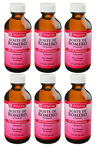 De La Cruz Oil of Rosemary Compound for Skin and Hair, No Preservatives, Artificial Colors or Fragrances, Made in USA, 2 FL. oz. (6 Bottles)
