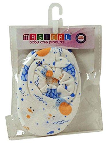 Magical impreso blanco recién nacido del bebé botines suave punto medias de toalla de algodón 1 par Blanquecino