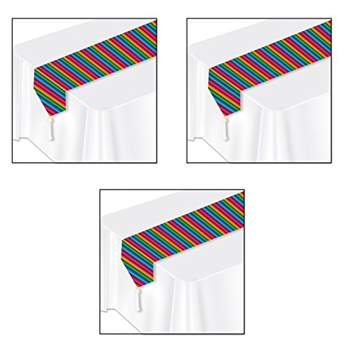 Beistle S50921AZ3 Printed Fiesta Table Runner 3 Piece, Multicolored -
