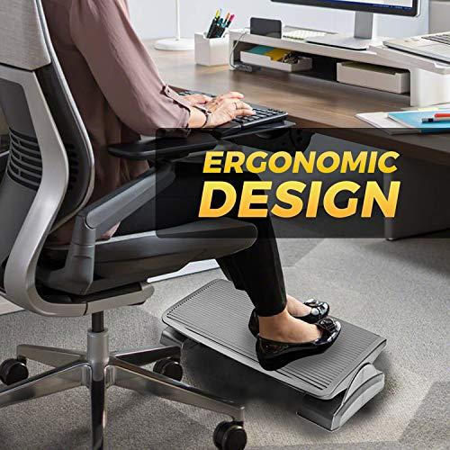 Under Desk Foot Rest, Black Footstool & Office Ergonomic Footrest, Adjustable Angle & 3 Positions, 17.6'' X 13.1'' - Great for Home & Work - 10 Pack by Halter (Image #6)