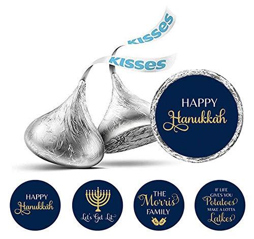 (Darling Souvenir Hershey's Kisses Chocolate Labels Hanukkah Jewish Stickers Pack of 190 Pcs-Navy Blue & Goldenrod)