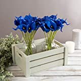 Pure Garden Artificial Calla-Lily with Stems-Real Touch Fake Flowers, More-24 Piece Set, Royal Blue