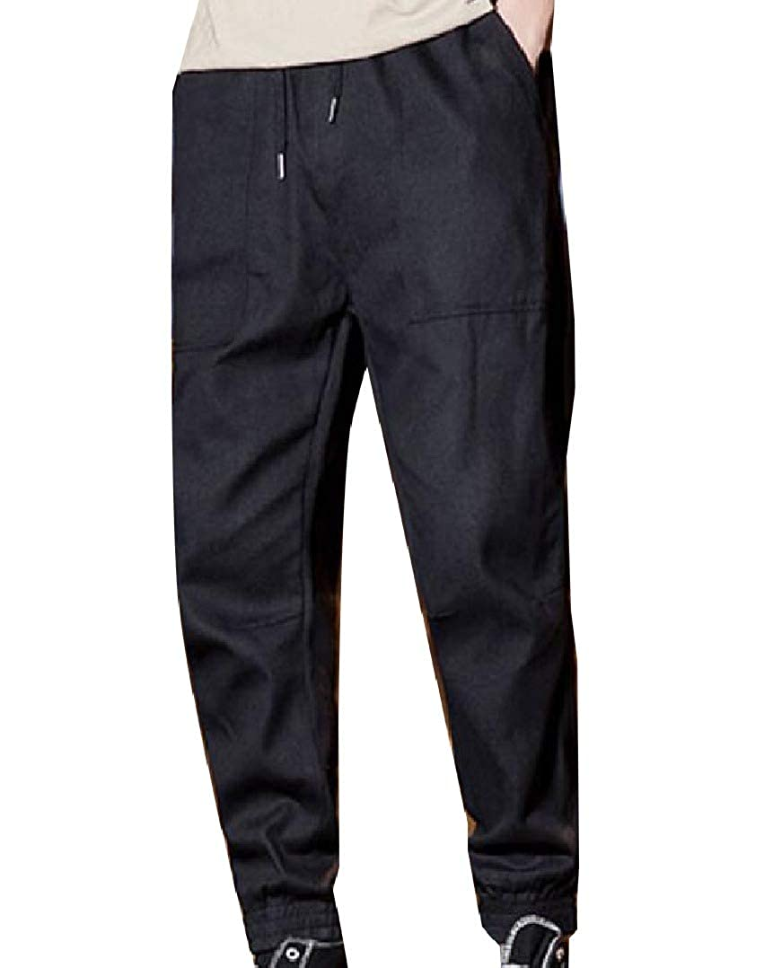 Abetteric Mens Casual Solid Basic Jogger Pants Pockets Cotton Sport Pants
