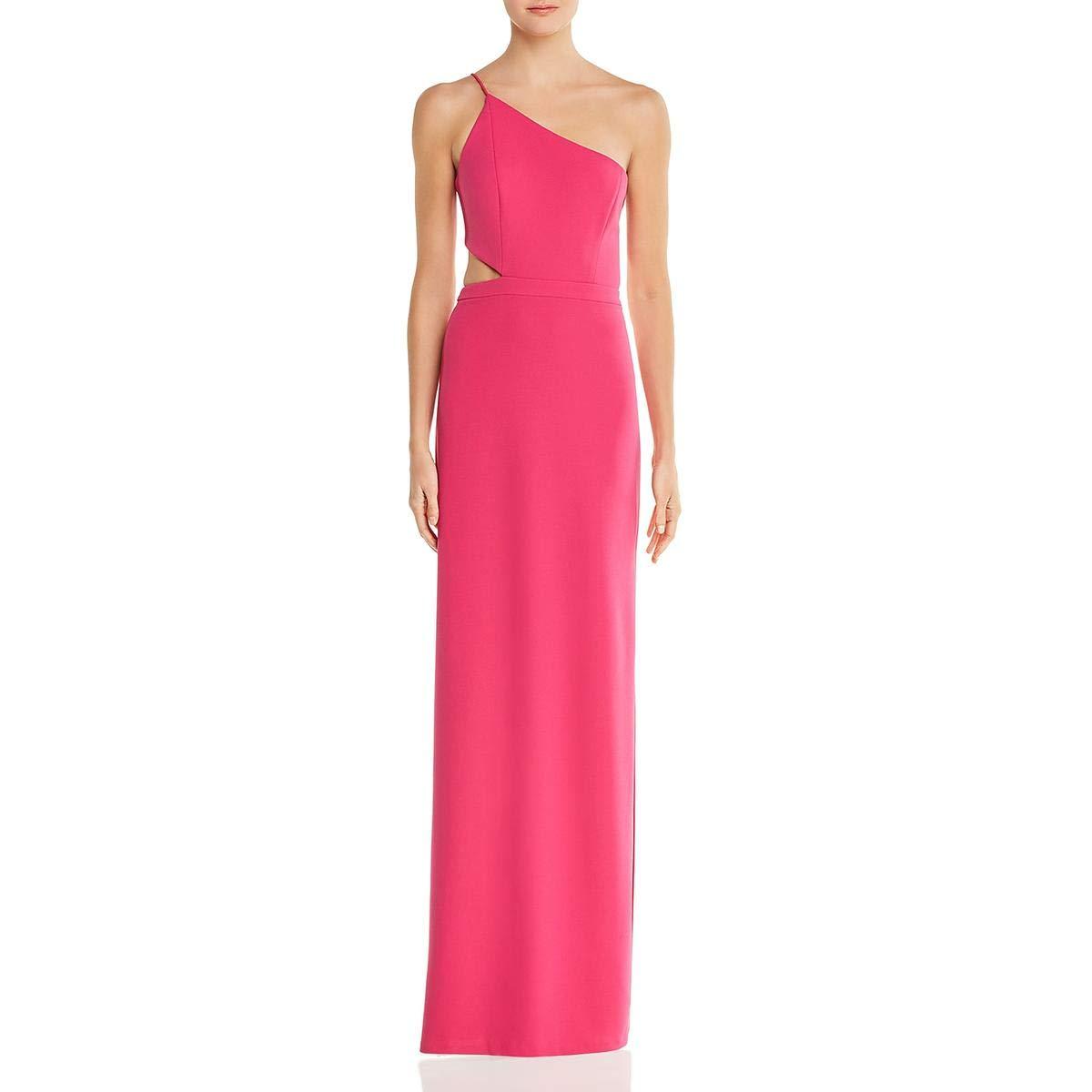 Bright Pink Aidan Mattox Aidan Womens CutOut One Shoulder Formal Dress