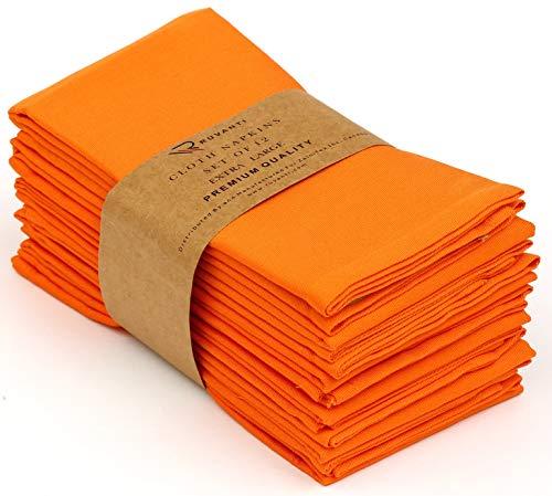 "Ruvanti Cotton Dinner Napkins 12 Pack (18"" X18""), Cloth Napkins Soft Comfortable Reusable Orange Napkins - Thanksgiving Napkins - Perfect Table Napkins/Fall Napkins for Family Dinners, Weddings."