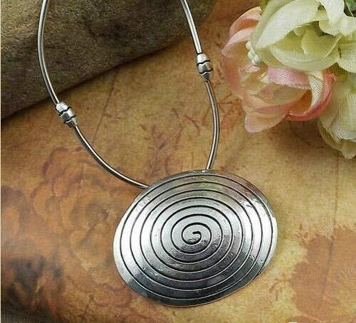 Huge Tibetan Silver Spiral Circle 8 Petal Shaped Medallion Pendant Necklace #ID-1321