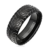 Awesome Black Ion Plated Stainless Steel Ring with Cool Tire Tread Pattern. (9)