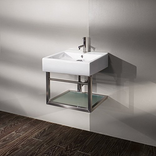 Wall-mount structure made of brushed stainless steel for lavatory 5062, with one shelf in wood and a towel bar, 17 1/2