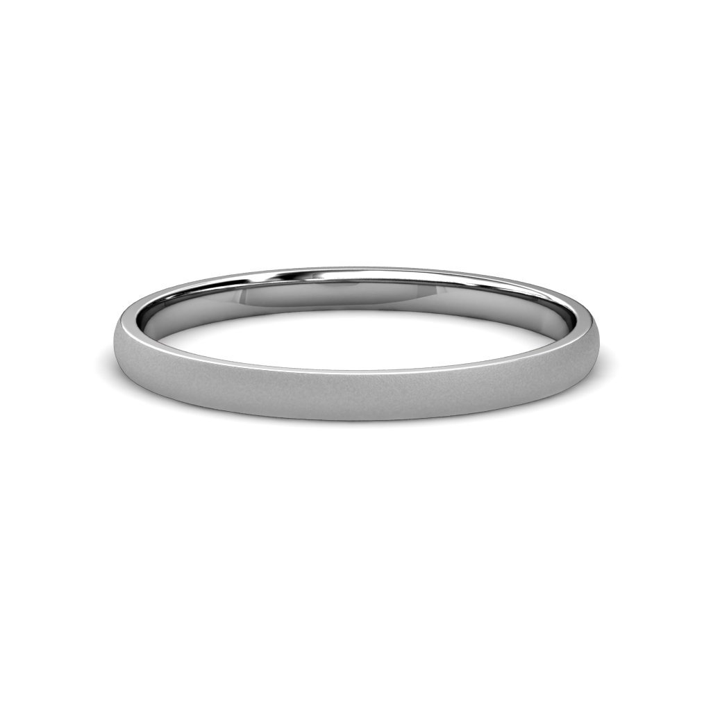 Glass Finish 2mm Plain Domed Wedding Band in 14K White Gold.Size 14.0 by TriJewels