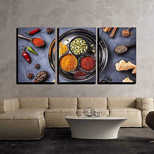 - 3Pcs Canvas Wall Art, Modern Giclee Print Home Decor Stretched Framed Gallery Wrapped Painting, Various Spices Like Turmeric, Cardamom, Chili, Bayberry, Bay Leaf, Paprika, Ginger, 24