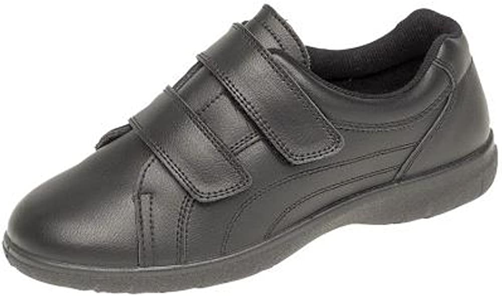 Womens Extra Wide EEE Leather Velcro