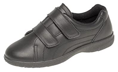 Womens Extra Wide EEE Leather Velcro Casual Non Slip Shoes Trainers 3 - 9  BLACK ( 7ace514527d7