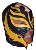 WWE Licensed Rey Mysterio Adult Size Navy Blue With Yellow Leather Pro Grade Mask