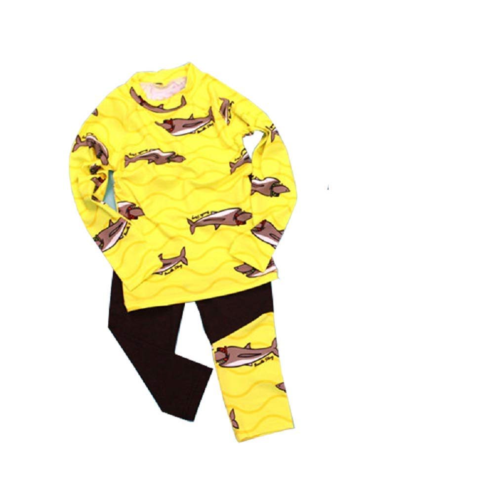 Yunqir Kids Wetsuit 2 Pcs/Set Children Long Sleeve Split Swimsuits Kids Sunscreen Fishes Patterns Wetsuit for Water Sports(Yellow)
